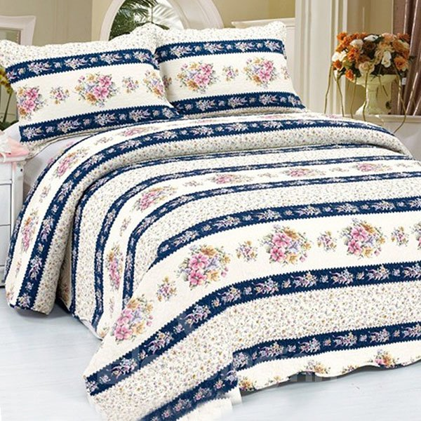 Ultra Wonderful Beautiful Floral Stripes 3-Piece Bed in a Bag Set