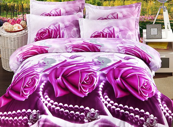 Bright Rose and Peral Print 4-Piece Polyester Duvet Cover Sets