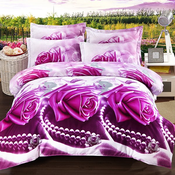 bright rose and peral print 4 piece polyester duvet cover sets. Black Bedroom Furniture Sets. Home Design Ideas