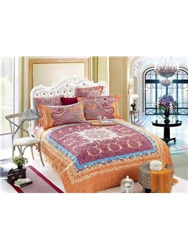 Luxury Court Style Orange Flower Pattern 4-Piece Cotton Duvet Cover Sets