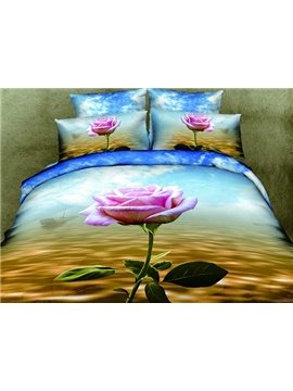 One Pink Rose Print 4-Piece Cotton Duvet Cover Sets