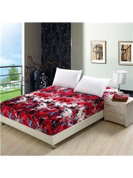 Attractive Full Blooming Red Flowers and Castle Coral Fitted Sheet