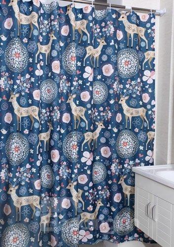 Unique Adorable Deer Print Polyester Shower Curtain