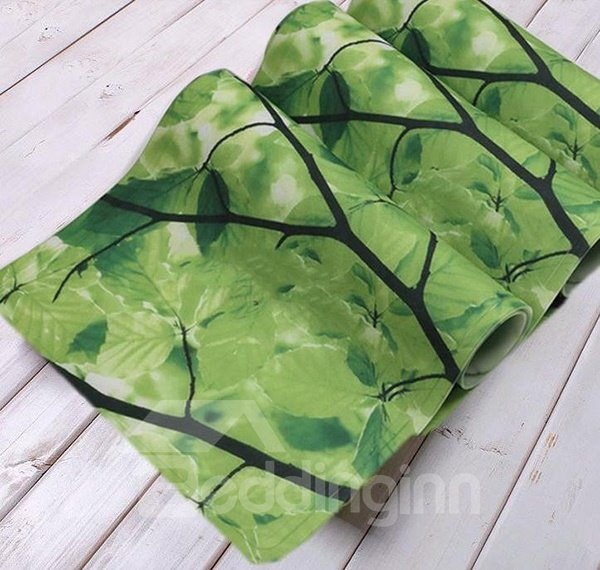 Environmental Branch Leaves Print PVC Bath Rug