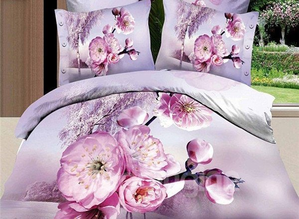 Pink Peach Blossom Print 4-Piece Cotton Duvet Cover Sets