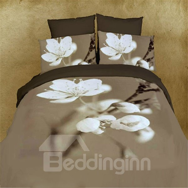 Pure White Pear Blossom Print 4-Piece Cotton Duvet Cover Sets