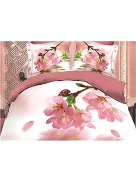 Falling Petals and Water Print 4-Piece Polyester Duvet Cover Sets