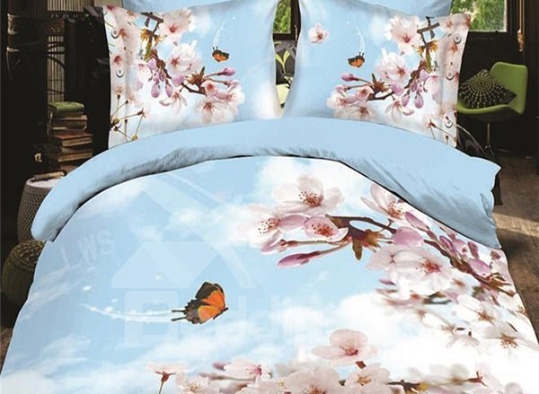 Butterfly Flying to the Flowers Print 4-Piece Polyester Duvet Cover Sets