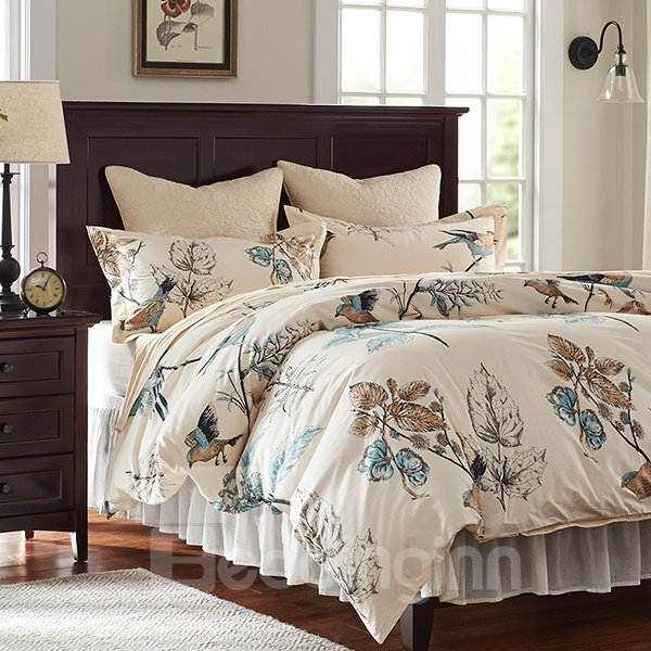 Rural Flower And Birds Print 4 Piece Cotton Duvet Cover