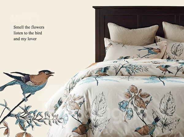 Rural Flower and Birds Print 4-Piece Cotton Duvet Cover Sets