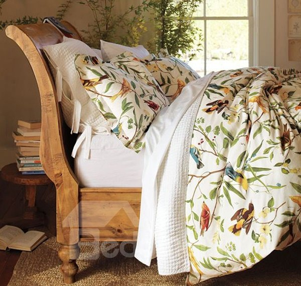Very Soft Country Spring Birds And Flower Print 4 Piece