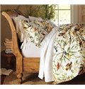 Very Soft Country Spring Birds and Flower Print 4-Piece Cotton Duvet Cover Sets