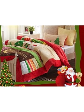 Christmas Gift Santa Claus and Tree Print 2-Piece Dull Velvet Kids Duvet Cover Sets