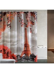 Romantic Aesthete Eiffel Tower Printing Shower Curtain