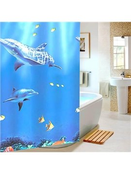 Adorable Swimming Dolphin Print Blue Shower Curtain
