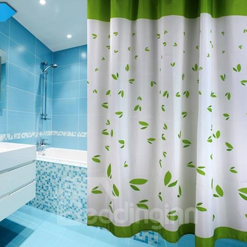 Graceful Fresh Green Leaves Print Shower Curtain