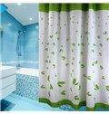 Graceful Fresh Green Leaves Print Shower Curtain