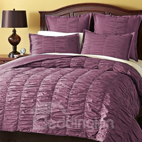 Solid Violet Wrinkle Style Cotton 4-Piece Falbala Duvet Cover Sets