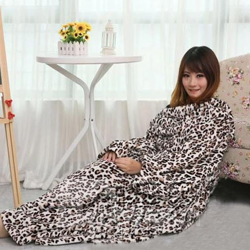 Ultra Soft and Comfortable Leopard Sleeved Useful Blanket