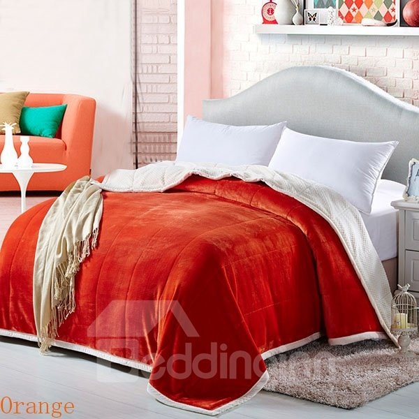 Ultra Soft and Warm Solid Color White Lining Pattern Coral Blanket