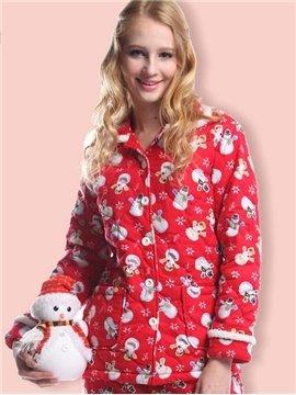 Cozy Snow Flake And Snowmen Christmas Pajamas
