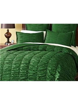 Luxury Green Satin Wrinkle Design 4-Piece Duvet Cover Sets