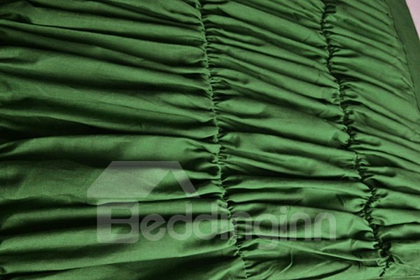 Luxury Green Satin Wrinkle Design 4-Piece Duvet Cover Sets