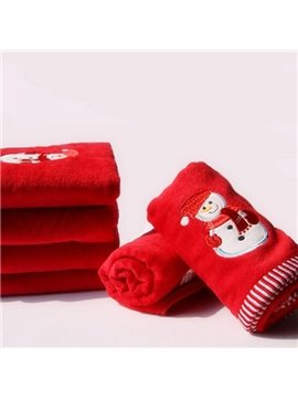 Cheery Adorable Christmas Snowman Design Red Towel