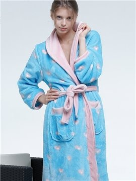 High Quality Blue Flannel Sweethearts Pattern Female Robe