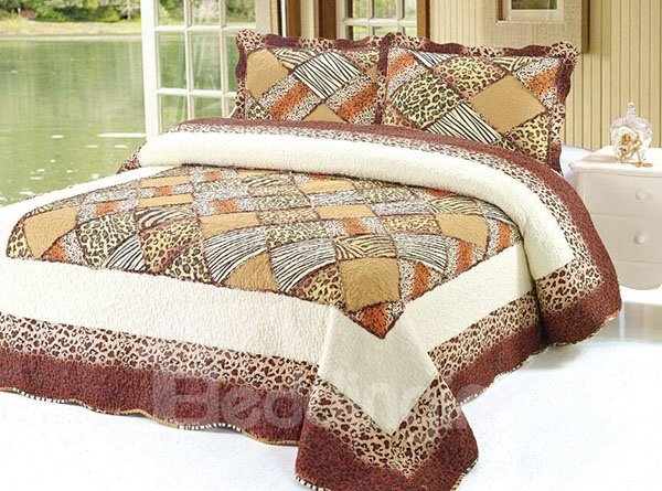 Sexy Leopard and Beige Yellow Squares Pattern Wonderful  3-Piece Bed in a Bag Set