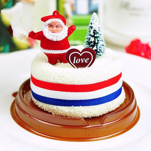 Creative Gift Cake Cotton Towel with Santa Claus