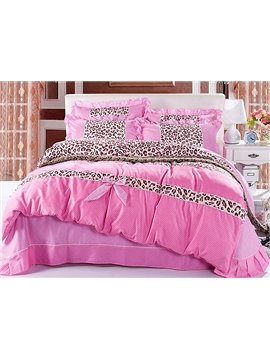 Sweet Leopard Pattern with Bow Tie 4-Piece Duvet Cover