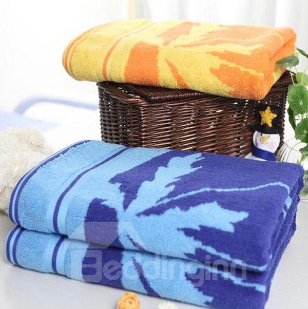 Fluffy Super Soft Leave Print Cotton Bath Towel