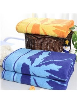 Fluffy Super Soft Leave Print Cotton Bath Towel