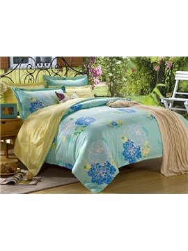 Luxury Peony Print 4-Piece Cotton Duvet Cover