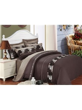 Noble Elegant Leaves Print 4-Piece Duvet Cover Sets