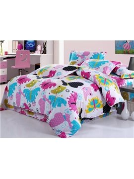 Romantic Colorful Flying Butterfly Print 4-Piece Cotton Duvet Cover Sets