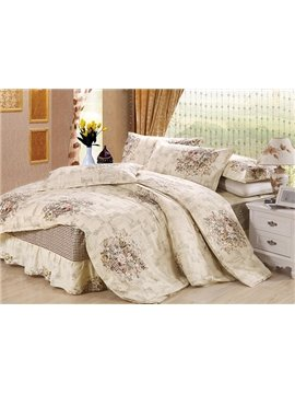 Vintage Flower Basket Print 4-Piece Cotton Duvet Cover Sets