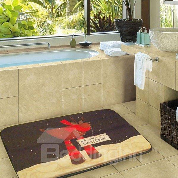 Soft Christmas Deer Print Environmental Rubber Bath Rug
