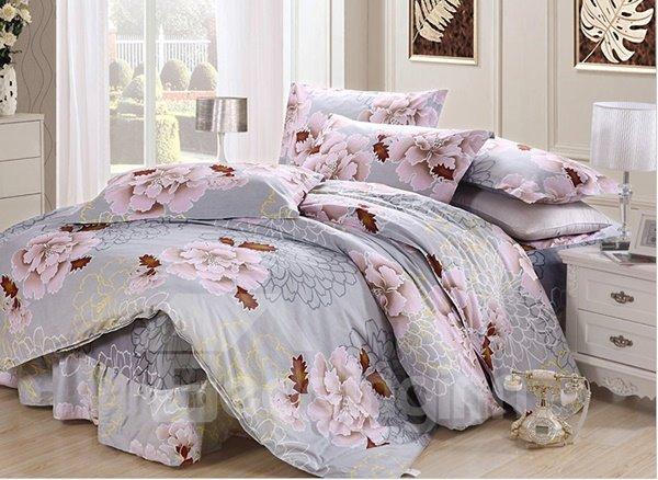 Gorgeous Peony Print 4-Piece Cotton Duvet Cover Sets