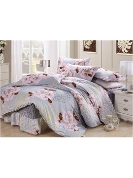 Gorgeous Peony Print 4-Piece Cotton Duvet Cover Sets