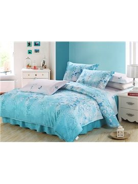 Adorable Blue Flowers and Butterflies Print 4-Piece Cotton Duvet Cover Sets
