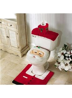 Santa Claus 3-piece Toilet Seat Cover and Rug Set