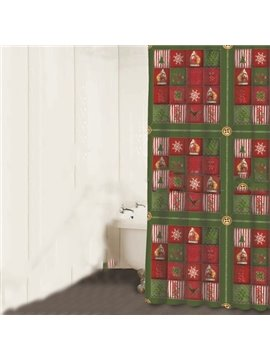 Happy Santa Claus Christmas Tree Snowflake Print 3D Shower Curtain