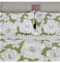 White Blooming Peony Green Background Color Ultra Comfortable Quilt