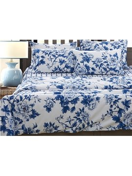 Blue and White Porcelain Flower Print 4-Piece Egypt Long-Staple Cotton Duvet Cover Sets