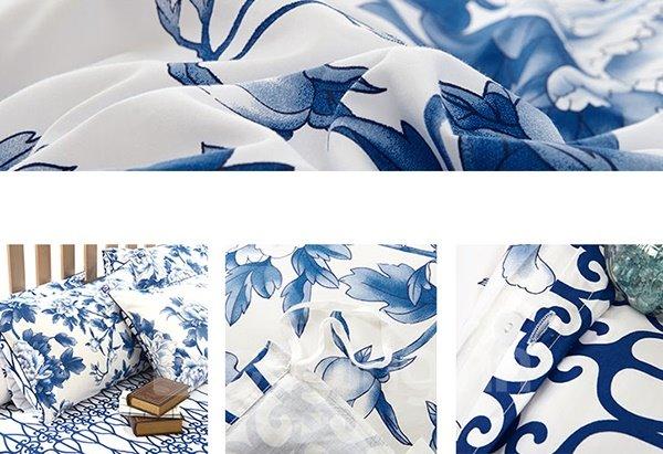 Blue and White Porcelain Flower Print 4-Piece Egypt Long-Staple Cotton Duvet Cover Sets