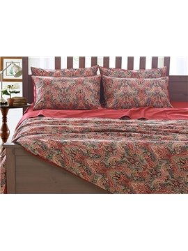 Unique Flower Print 4-Piece Natural Egypt Long-Staple Cotton Duvet Cover Sets