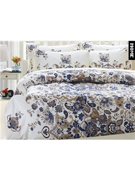 Top Class Beautiful Floral Print 4-Piece Natural Egypt Long-Staple Cotton Duvet Cover Sets
