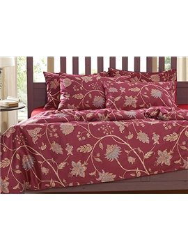 Elegant Floral Print 4-Piece Natural Cotton Duvet Cover Sets